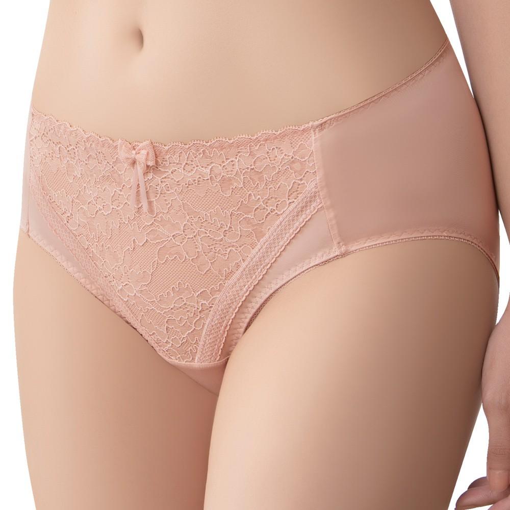 SWEAR 思薇爾 沁涼Bra系列M-XXL蕾絲中腰三角內褲(肉桂膚)