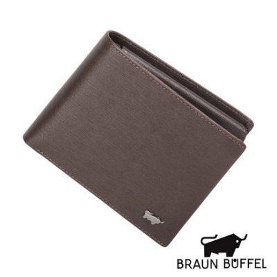 BRAUN BUFFEL 德國小金牛 真皮 紳士系列12卡壓紋透明窗 短夾 男夾 皮夾 咖啡 BF182-317-BR