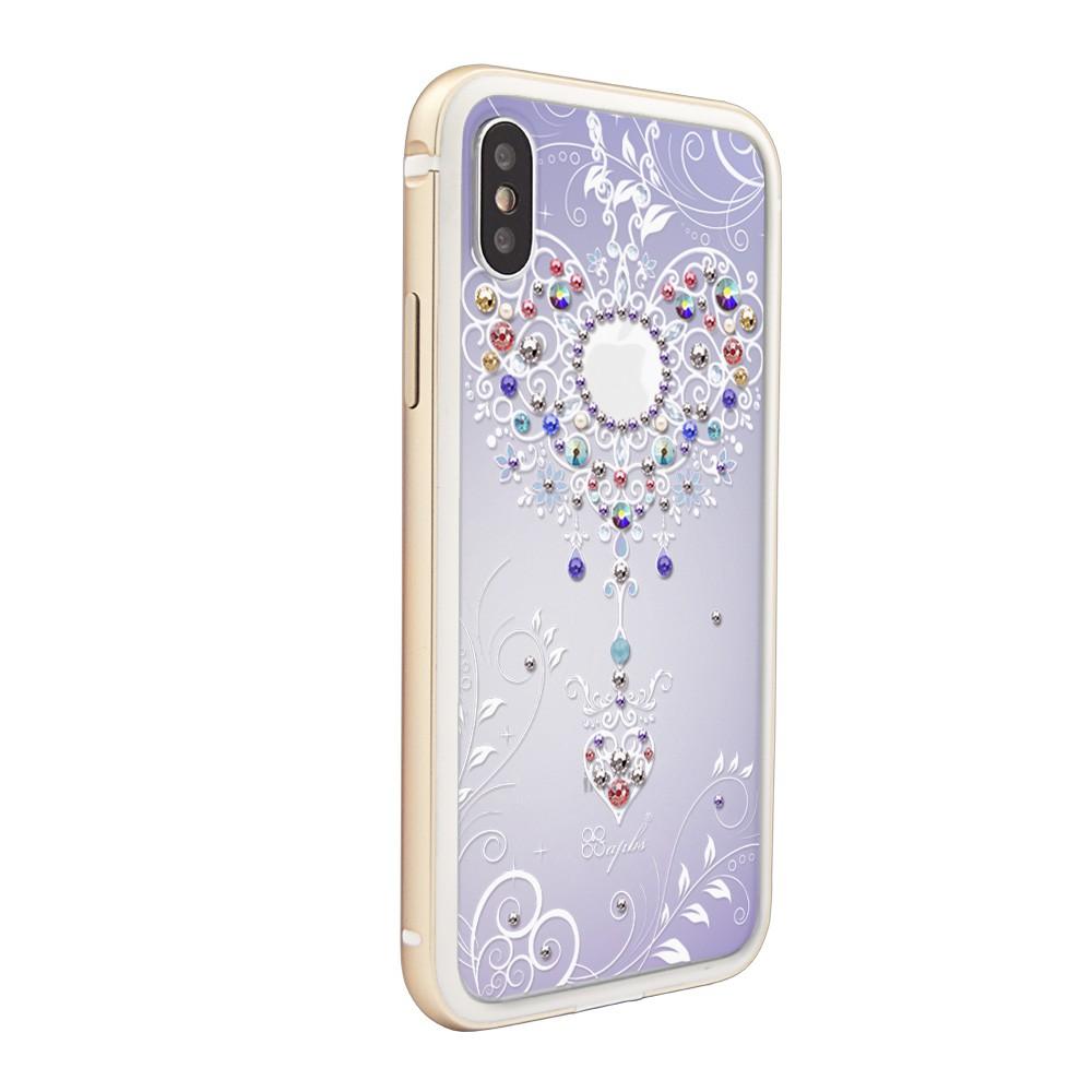 apbs iPhone Xs Max 6.5吋施華彩鑽鋁合金屬框手機殼-金色永恆愛鍊