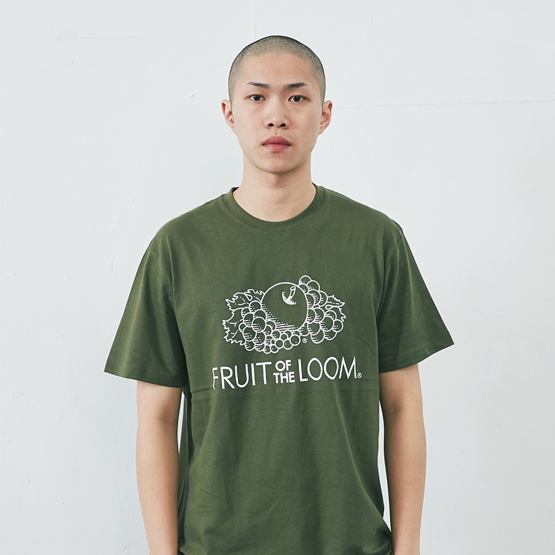台灣總代理Fruit of the loom 經典 Logo T 短T 軍綠色 水果牌 潮流 復古 古著 簡約 流行