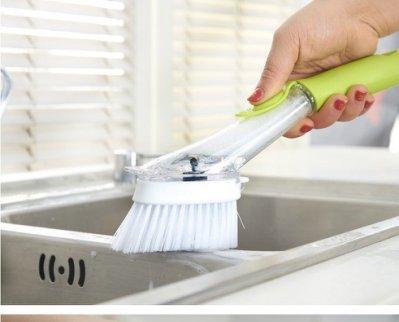 自動加液清潔長柄兩用刷 自動添加洗潔精去污刷 自動加液洗碗刷鍋清潔刷長柄鍋刷百潔刷海綿刷去油汙神器廚房刷子SK29