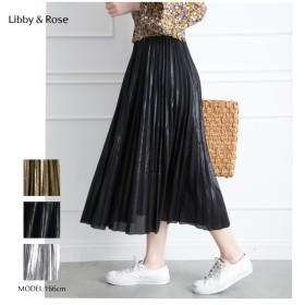 Libby & Rose ラメプリーツロングスカート ブラック
