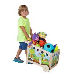 【美國ALEX】木質玩具收納手推車
