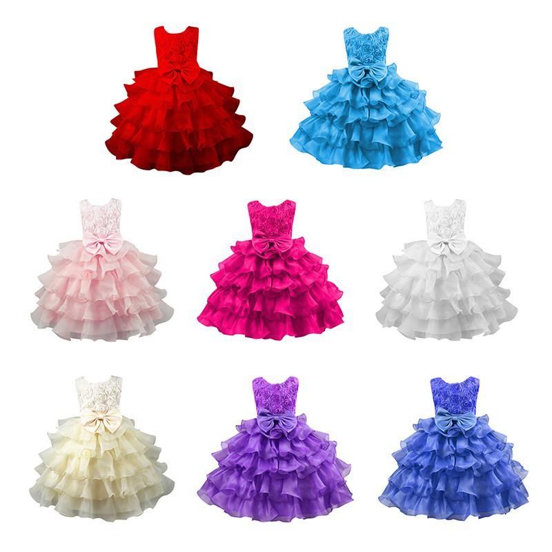 兒童女孩荷葉邊蕾絲連衣裙蝴蝶結公主芭蕾舞裙【IU貝嬰屋】