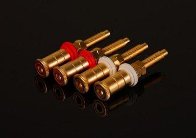 308.台灣製純銅 鍍沙金加長型音箱接線柱 喇叭座4个一組特價700元