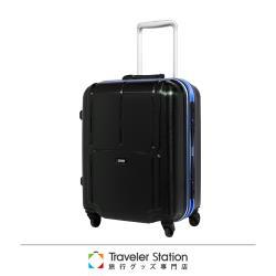 《Traveler Station》CROWN 皇冠 19吋極輕炫彩鋁框拉桿箱- 黑底深藍框