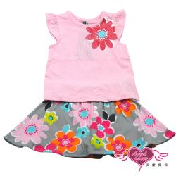 天使霓裳-童裝 花開綻放 兒童背心短裙兩件組套裝(粉) GSH13045