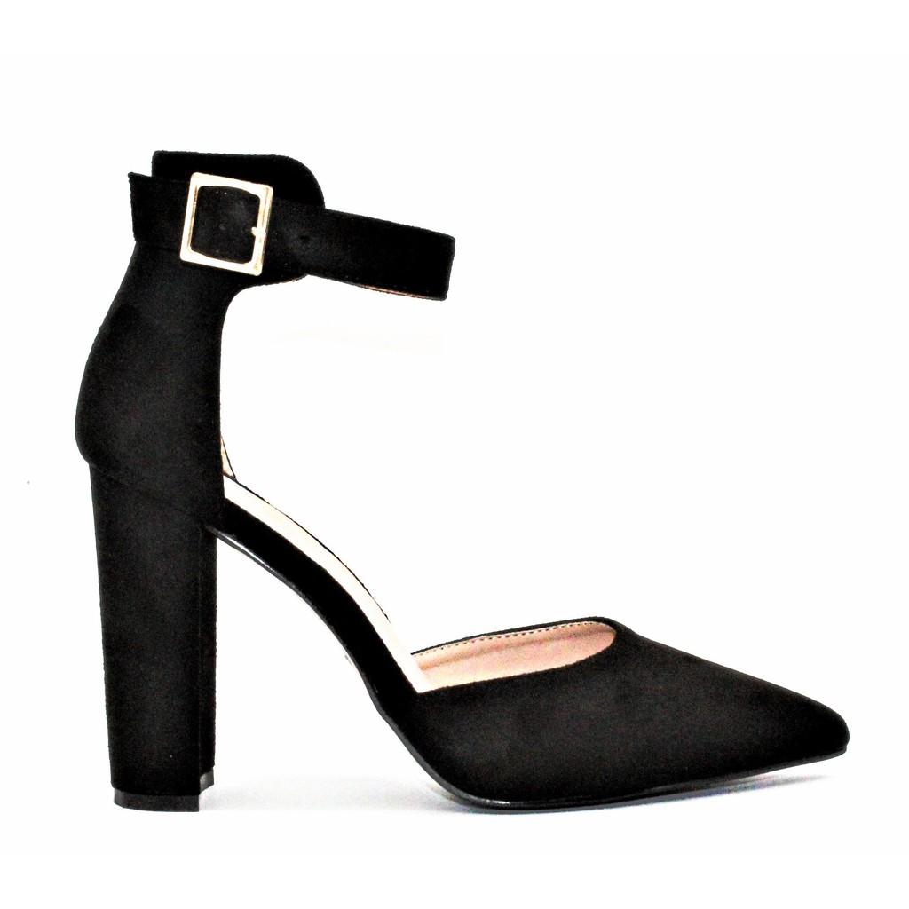復古粗跟絨面踝帶尖頭高跟鞋-黑色有大尺碼【 GLAZE 】