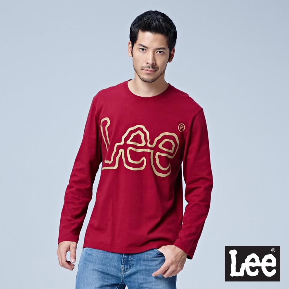 Lee LOGO長袖圓領T恤 男 紅 Mainline