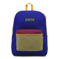 JanSport校園背包(EXPOSED)-藍-芥末黃