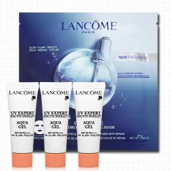 LANCOME蘭蔻 超輕盈UV水凝露10mlx3+超進化肌因活性凝凍面膜28g