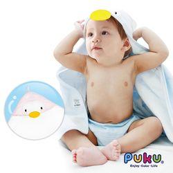 PUKU藍色企鵝 造型連帽紗布浴巾-75*75cm-粉色