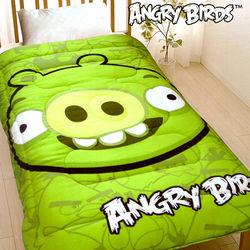 【ANGRY BIRDS】憤怒鳥搖粒絨暖暖厚毯被-綠豬(B0616-A3)