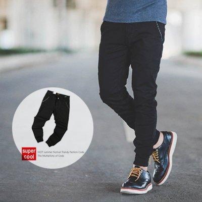柒零年代【N9788J】直紋口袋滾邊黑色窄版長褲縮口褲(UC2022)