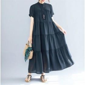 マキシワンピース ワンピース レディース ロングTシャツ オシャレ 夏 黒ワンピース フレア 半袖 カジュアル 体型カバー 上品