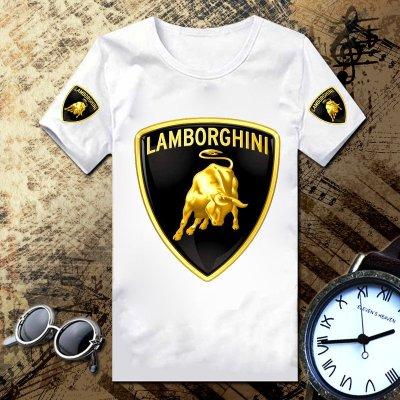 世界名車標誌 蘭寶基尼  F1賽車服 法拉利 蘭博基尼跑車4S店工作服 t恤  汽車LOGO圓領純棉短袖 T恤