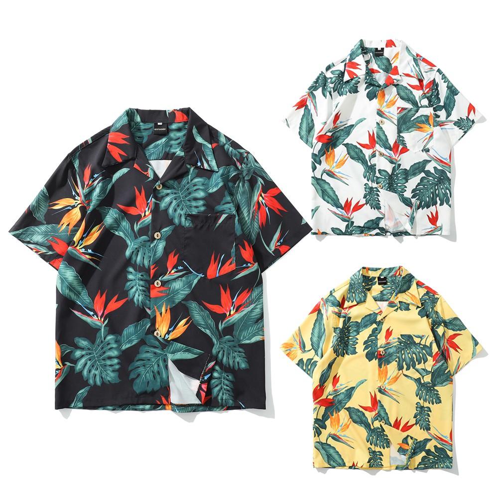【K-2】夏威夷 滿版 花葉 海邊 短袖襯衫 沙灘 個性 街頭 情侶 男女不拘 台客 穿搭 薄外套 襯衫【B318】