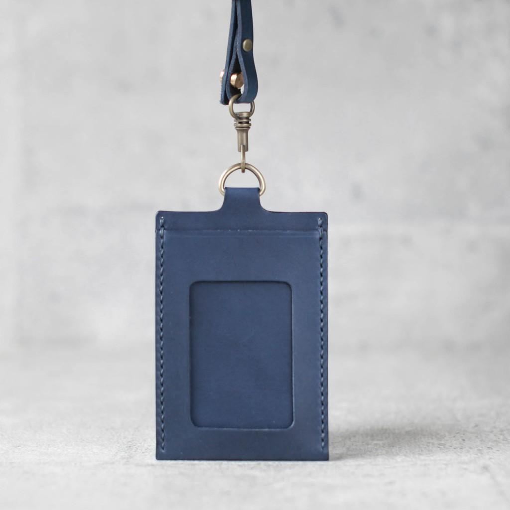 海軍藍色真皮手工直式證件卡