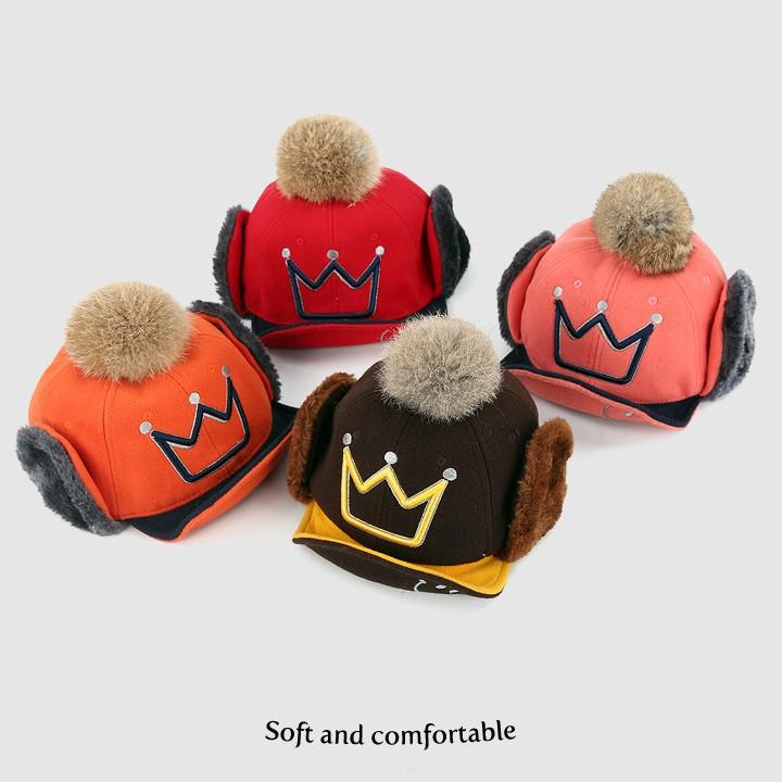 厚款絨布大毛球刷毛護耳帽雷鋒帽 (帽前緣有軟鐵絲可上翻定型) 橘魔法 帽子 女童 男童【p0061151067210】