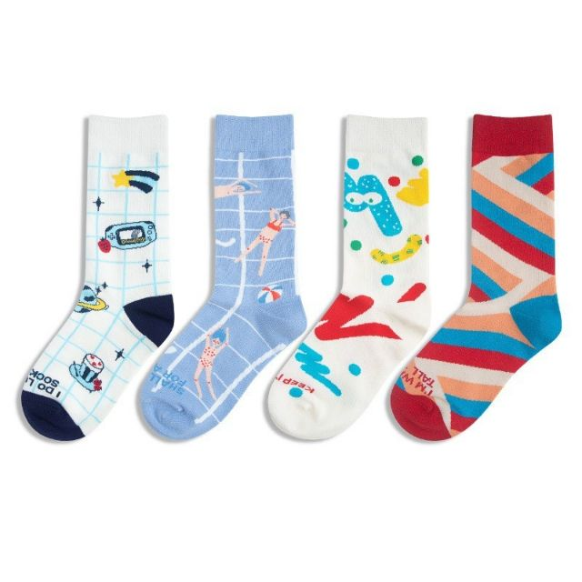 柳惠珠襪子 韓國原創設計卡通復古插畫純棉中筒襪 星球襪幾何派對男女襪子SOCKS