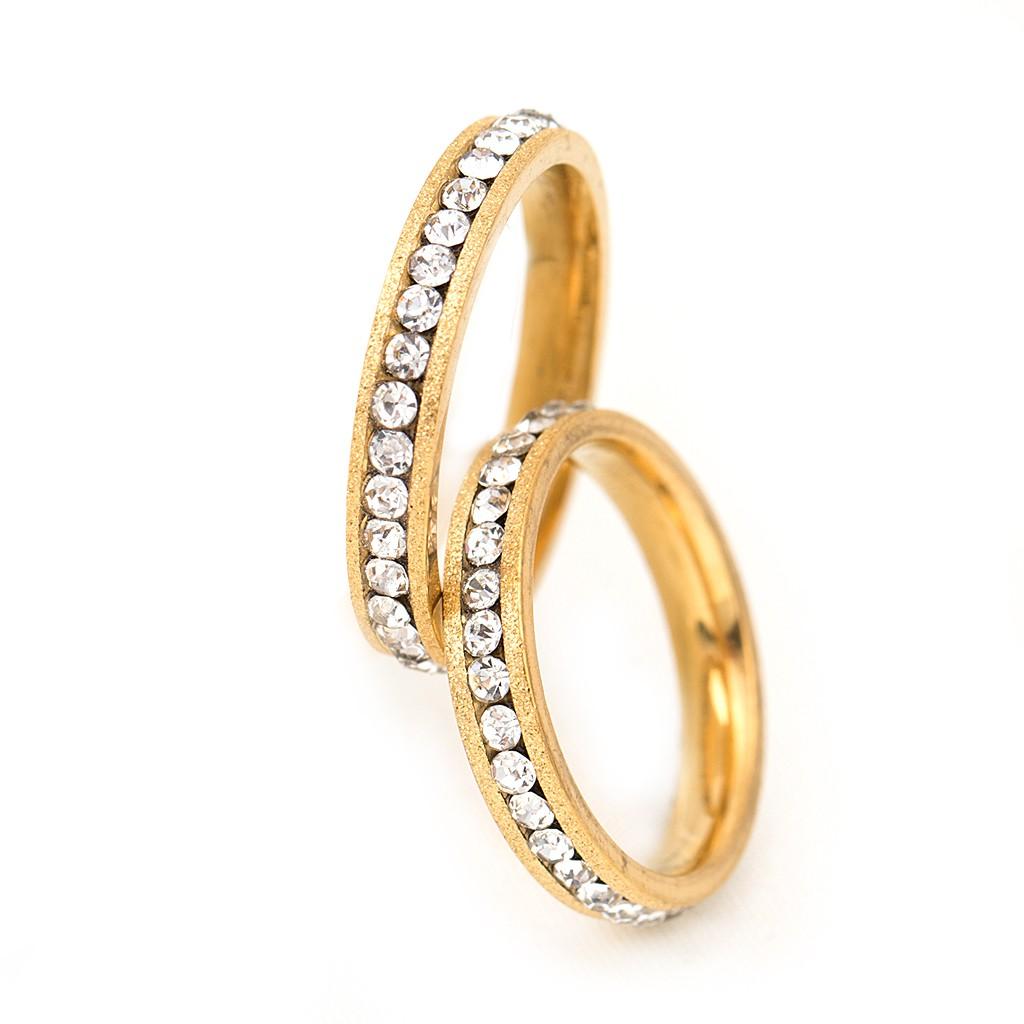 金色一直鑽 內鑲水鑽 鋼戒 戒指 17-21號 鈦鋼 艾豆 NH7003