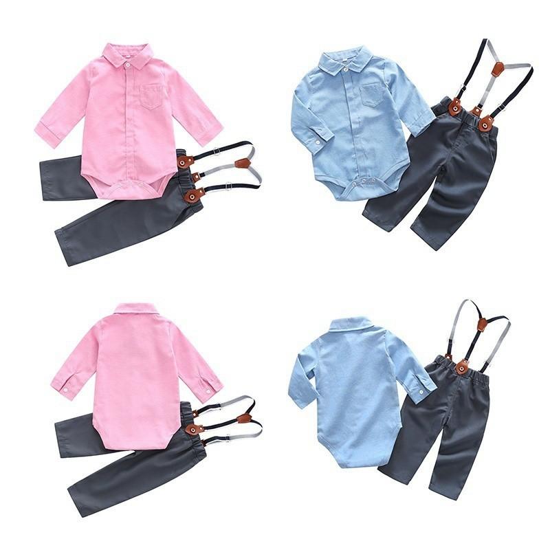 夏季嬰兒男童休閒童裝長袖襯衫連身衣緊身衣褲+褲子2件新生兒服裝【IU貝嬰屋】