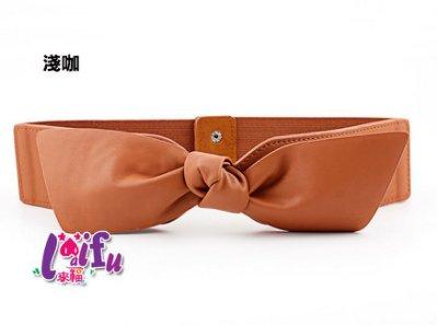 來福腰封,H825腰封彈力蝴蝶結皮質鬆緊寬腰帶腰封皮帶,售價250元