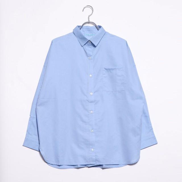 ラナン Ranan 襟抜きオーバーサイズシャツブラウス (ブルー)