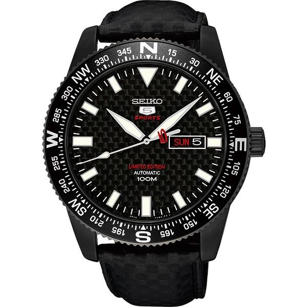 SEIKO 限量版精工5號盾牌碳纖維機械錶-鍍黑/44mm 4R36-04B0K(SRP719J1)