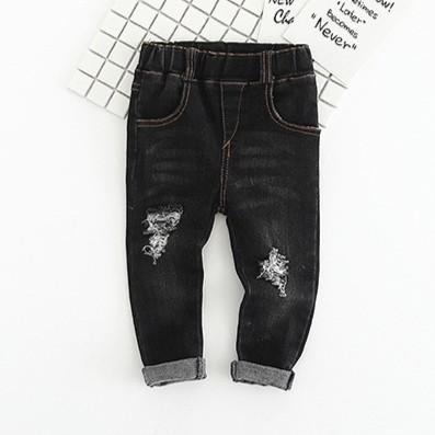 蘋果小舖♡(Do-31)秋季新品~ 男女小童 帥氣黑色刷破牛仔鉛筆長褲 A0