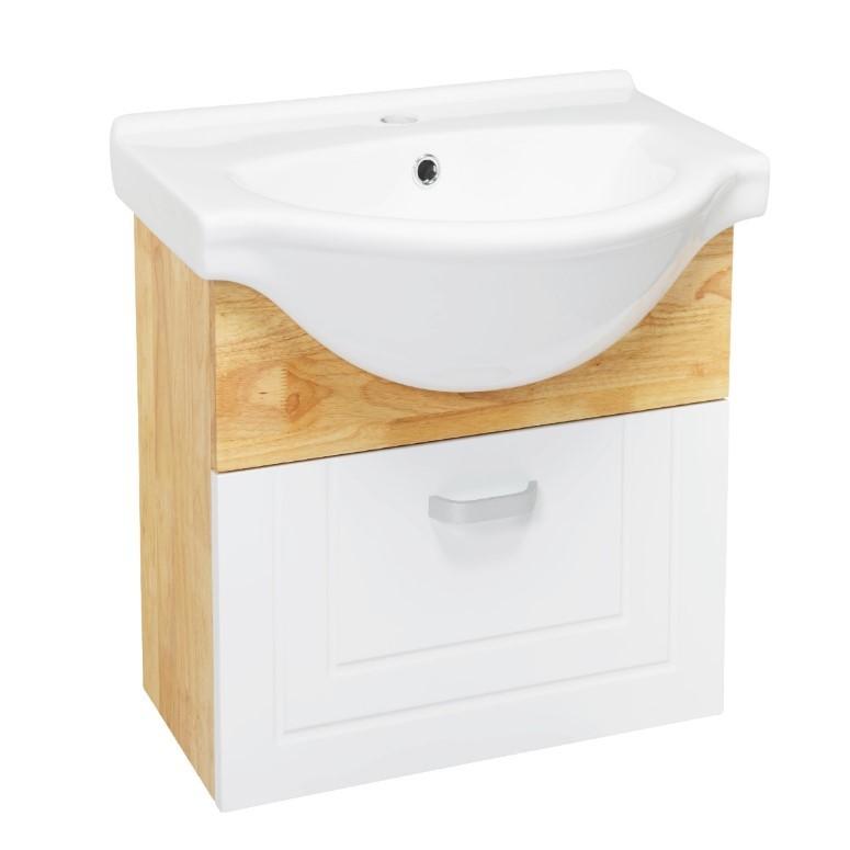 Cozy衛浴 鄉村橡木臉盆浴櫃 型號 W9050 尺寸 寬56x深43x高62cm 陶瓷釉面 含龍頭配件 木紋鏡