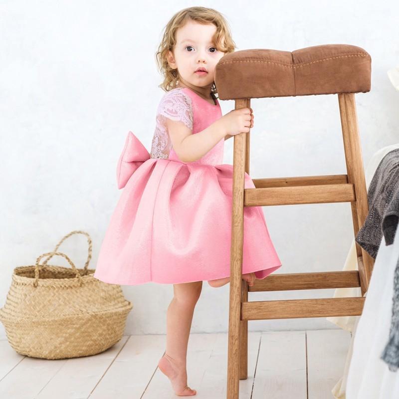 童裝爆款女童連衣裙女寶寶小飛袖蕾絲蝴蝶結露背公主裙【IU貝嬰屋】