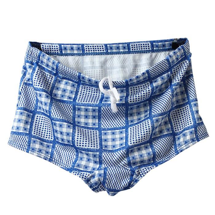 貝比幸福小舖【42300-F】台灣製造/男童泳褲/藍花格紋