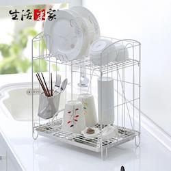 【生活采家】台灣製304不鏽鋼組合式雙層餐具碗盤瀝水架#27249