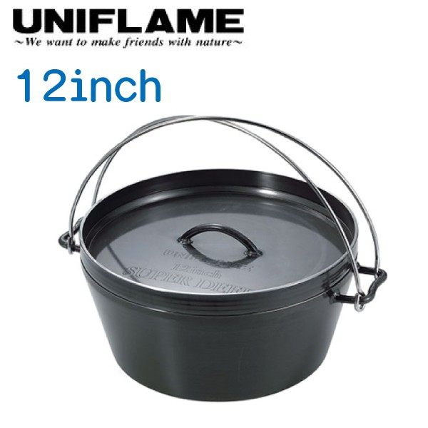 【UNIFLAME 日本 12吋黑皮鐵鍋 】U660966/黑皮鐵鍋/荷蘭鍋/悠遊山水