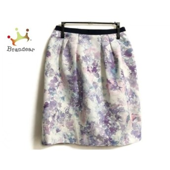 ジャスグリッティー JUSGLITTY スカート サイズ0 XS レディース 白×パープル×マルチ 花柄 値下げ 20190913