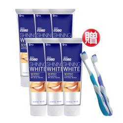韓國2080 三重亮白修護牙膏100g(6入)贈三重功效牙刷x2支