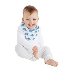 【Mum 2 Mum】雙面時尚造型口水巾圍兜-鯨魚粉藍