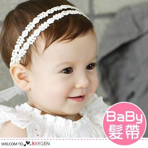 韓版兩條麥苗珍珠鑽紗花朵兒童髮帶 髮箍