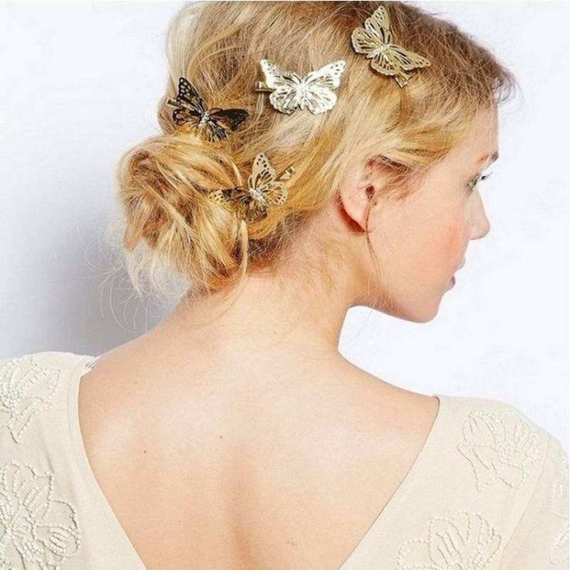 髮夾 現貨 韓國 熱賣 氣質潮風 百搭 金屬感 蝴蝶 紛飛 左右邊 髮飾 K7479 單個價 Danica韓系飾品