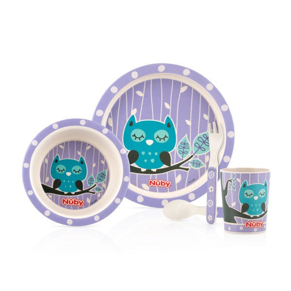 【Nuby】竹纖維兒童學習餐具5件組-貓頭鷹