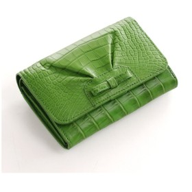 mieno アリゲーターレザー折り財布マットリボンデザイン財布レディース可愛い ライトグリーン