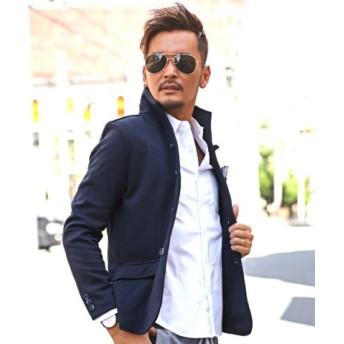 (LUXSTYLE/ラグスタイル)イタリアンカラー ジャケット メンズ テーラードジャケット BITTER ビター系【ポンチイタリアンカラージャケット】※ボトムス別売り※ テーラード スタンドカ/メンズ ネイビー 送料無料