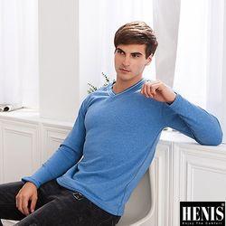 HENIS 3件組型男速暖絨V領保暖衫(隨機取色)206