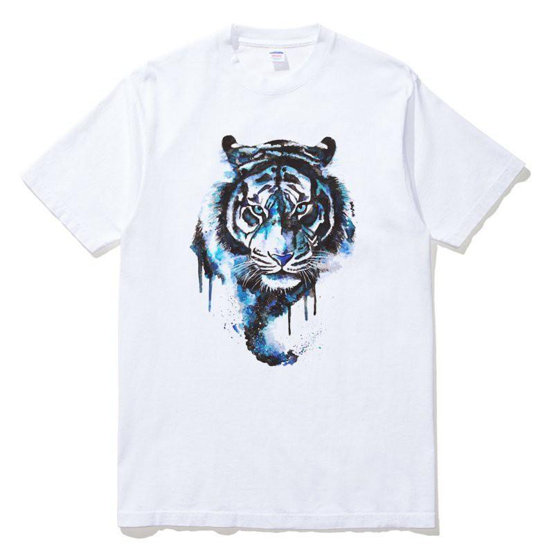 Tiger Watercolor 短袖T恤 白色 水彩老虎設計插圖印花潮T班服團體服批發【現貨】