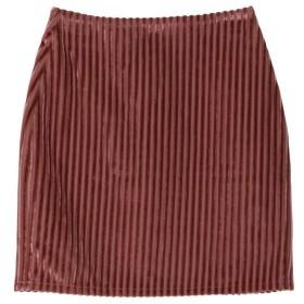 EVRIS ストライプベロアタイトスカート(ピンク)