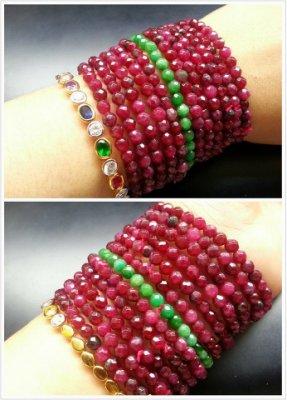 泰國帶回~ 頂級罕見全紅~【紅綠寶石 】【山玉軒】鑽石切角手珠  4.5mm