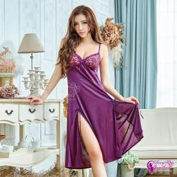 Sexy Cynthia 浪漫深紫蕾絲柔緞側開襟性感睡衣