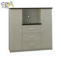 文創集-羅迪 環保4尺塑鋼四門三抽餐櫃/電器櫃-二色可選