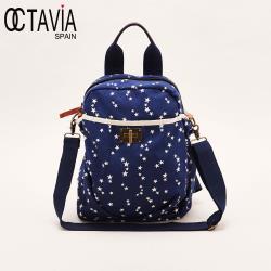 OCTAVIA 8 - 日印良品 印花帆布手拿肩背後背三用包- 藍底星星